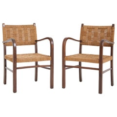 Pair of Bahaus Beech Seagrass Rope Armchairs, by Erich Dieckmann