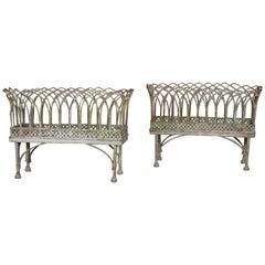 Pair of Basket-Style Iron Jardinières