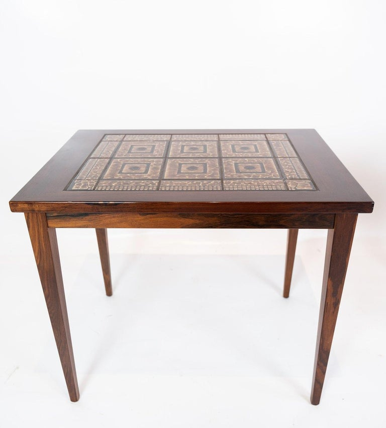 Pair of Bedside Tables in mahogany with Brown Tiles of Danish Design, 1960s In Good Condition For Sale In Lejre, DK