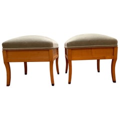 Pair of Birch Storage Ottomans