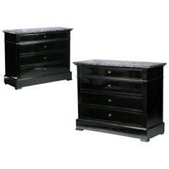Pair of Black Ebonized 19th Century French Commodes with Grey Marble Tops