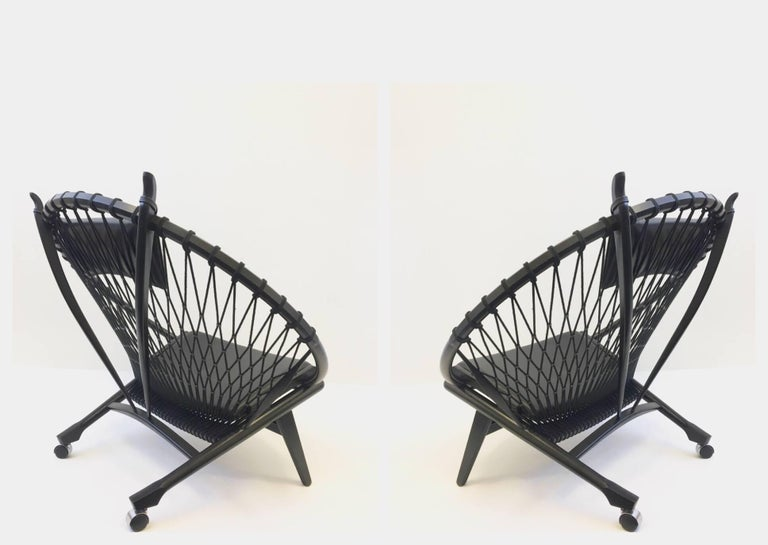 Modern Pair of Black Lacquer Oak and Learher Lounge Chairs by Hans Wegner For Sale