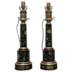 Pair of Black Tôle Painted Lamps, 19th Century