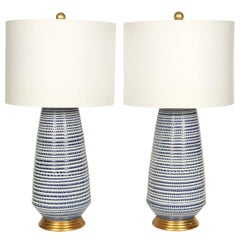 Pair of Blue and White Lamps