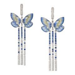 A Pair of Blue Butterfly Earrings by Ilgiz F