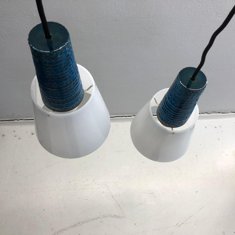 Modernist Pair of Blue Lamps from Kähler, 1960s For Sale