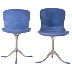 A Pair of Blue Leather and Golden Sand Cast Brass Chair by P. Tendercool