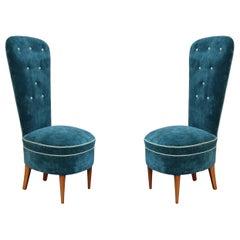 Pair of Blue Velvet and Wood Legs Midcentury Italian Lounge Chairs, 1950