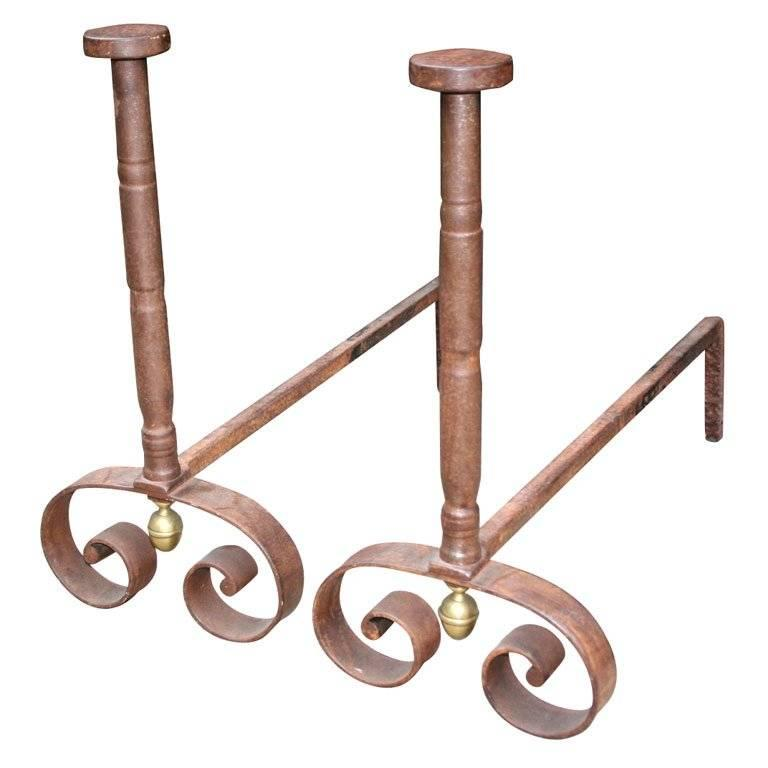 A Pair of Boldly Executed 19th c. French Steel Andirons For Sale