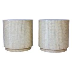 Pair of Bone Veneered Drum Tables Attributed to Enrique Garcel