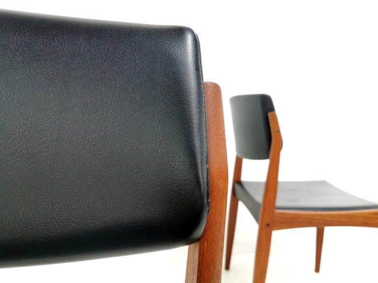 Mid-Century Modern Pair of Brahmin Midcentury Dining Chairs Teak and Black Vinyl, 1960s