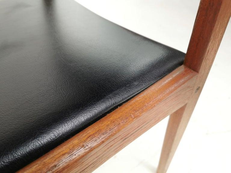 20th Century Pair of Brahmin Midcentury Dining Chairs Teak and Black Vinyl, 1960s