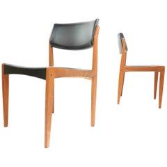 Pair of Brahmin Midcentury Dining Chairs Teak and Black Vinyl, 1960s