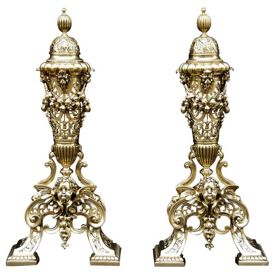 Pair of Brass Chenets/Andirons