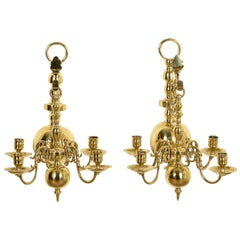 Pair of Brass Flemish Style Wall Lights Each for 4 Candles
