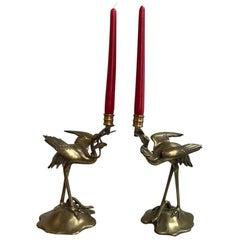 Pair of Brass Stalk Candelabras, 19th Century