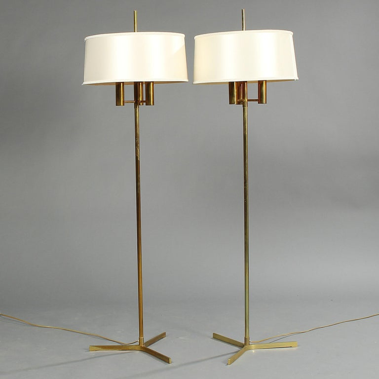 Danish Pair of Brass Standard Lamps on a Three-Star Base For Sale
