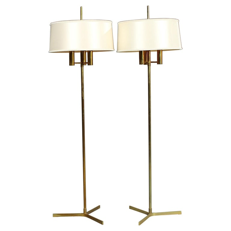 Pair of Brass Standard Lamps on a Three-Star Base For Sale