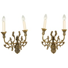 Pair of Brass Twin Arm Wall Lights