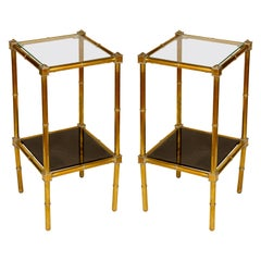Pair of Brass Two-Tier Smoked Glass Tables