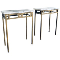 Pair of Breche Violette Marble and Gilt Metal Console Tables