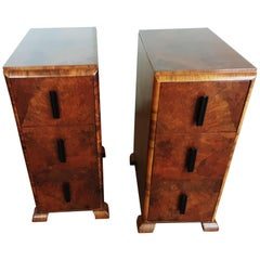Pair of British Art Deco Bedside Cabinets Brown Burr Walnut from the 1930s