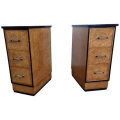 Pair of British Art Deco Bedside Cabinets by Epstein in Birdseye Maple, 1930s
