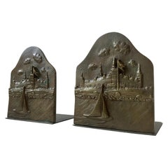 Pair of Bronze Bookends with Hamlets Castle 'Kronborg', 1930s