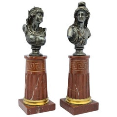 Pair of Bronze Busts by Jean-Baptiste Clesinger Et Marnyhac, Paris