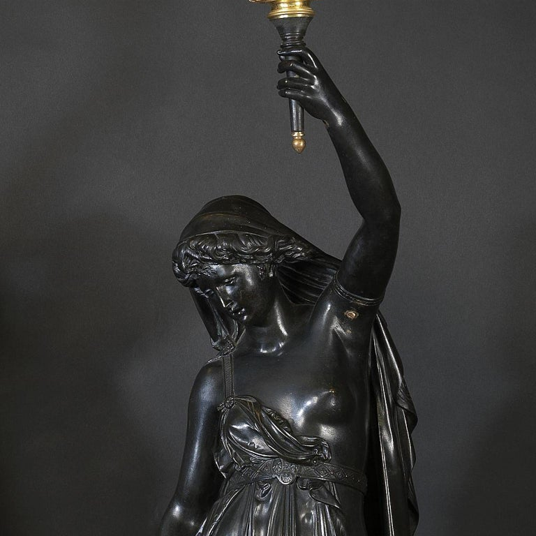 Pair of Bronze Figural Torcheres by Albert Ernest Carrier-Belleuse, circa 1880 In Good Condition For Sale In London, GB