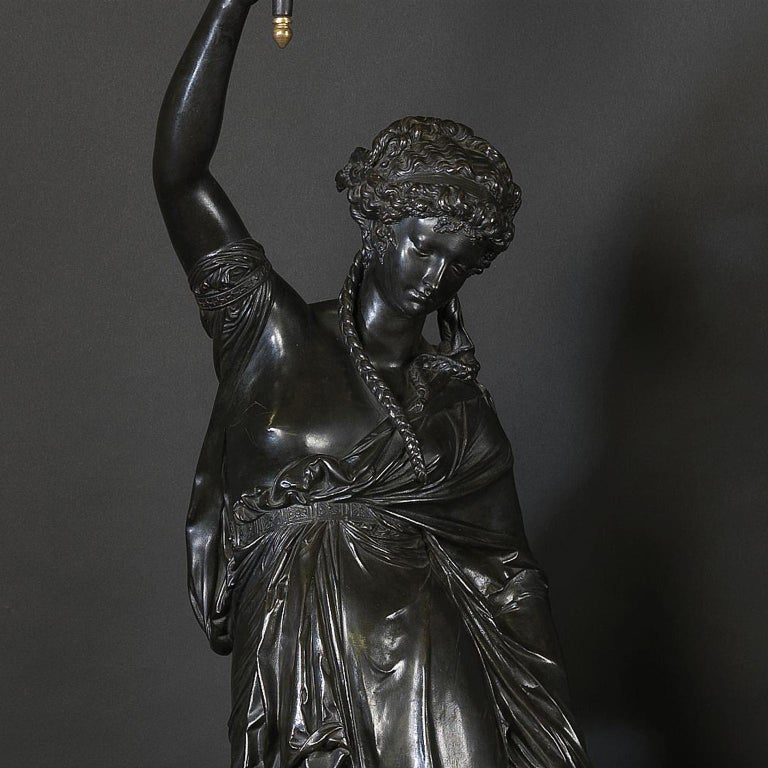 19th Century Pair of Bronze Figural Torcheres by Albert Ernest Carrier-Belleuse, circa 1880 For Sale
