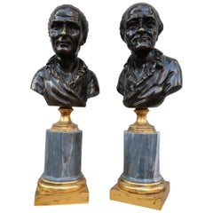 Pair of Bronze and Grey Marble Louis XVI Period Busts, France, 18th Century
