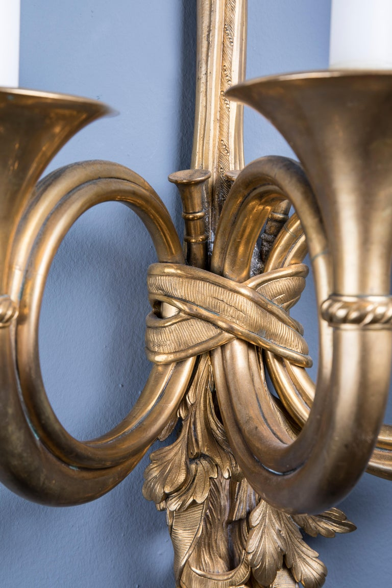 19th Century Pair of Bronze Louis XVI Style Wall Lights For Sale