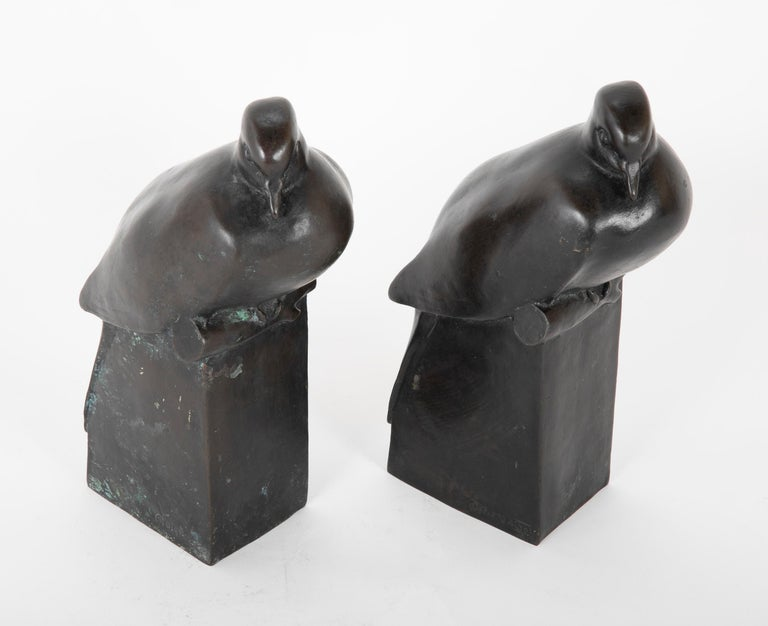 Two sculptures depicting Doves after the originals owned and released by The Nelson Rockefeller collection in 1978. Patinated bronze marked with NR inside a C with copyright mark and 1978 along with Pompon signature in the mold.  Literature: The