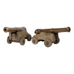 Pair of Bronze Table Cannons