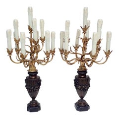 A Pair of Bronzed and Gilt Candelabra