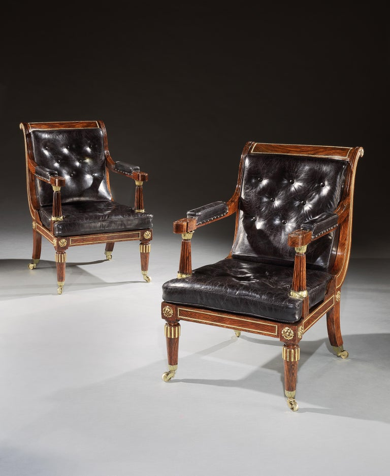 Pair of Brown and Black Rosewood and Leather George IV Library Chairs In Good Condition For Sale In Dublin, GB
