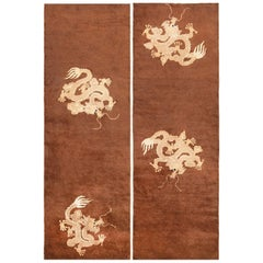 Pair of Brown Antique Dragon Chinese Runners. Size: 2 ft. 8 in x 7 ft. 9 in