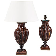 Pair of Brown Drip Glaze Urn Vases with Brass Mounts, Now as Table Lamps