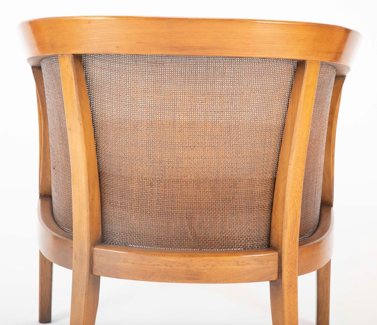 Pair of Caned Tub Back Armchairs Designed by Edward Wormley for Dunbar For Sale 4