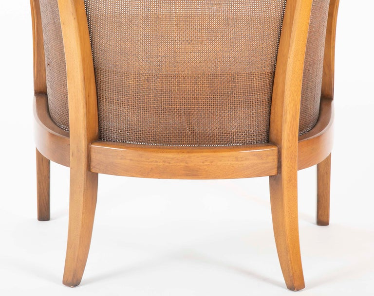 Pair of Caned Tub Back Armchairs Designed by Edward Wormley for Dunbar For Sale 5
