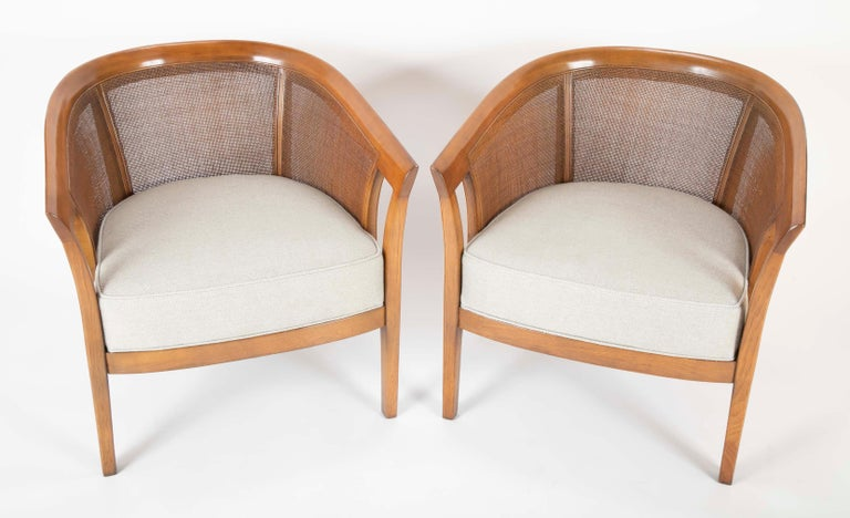 Mid-Century Modern Pair of Caned Tub Back Armchairs Designed by Edward Wormley for Dunbar For Sale