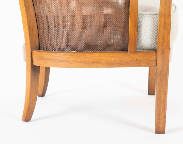 Pair of Caned Tub Back Armchairs Designed by Edward Wormley for Dunbar For Sale 2