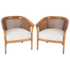 Pair of Caned Tub Back Armchairs Designed by Edward Wormley for Dunbar