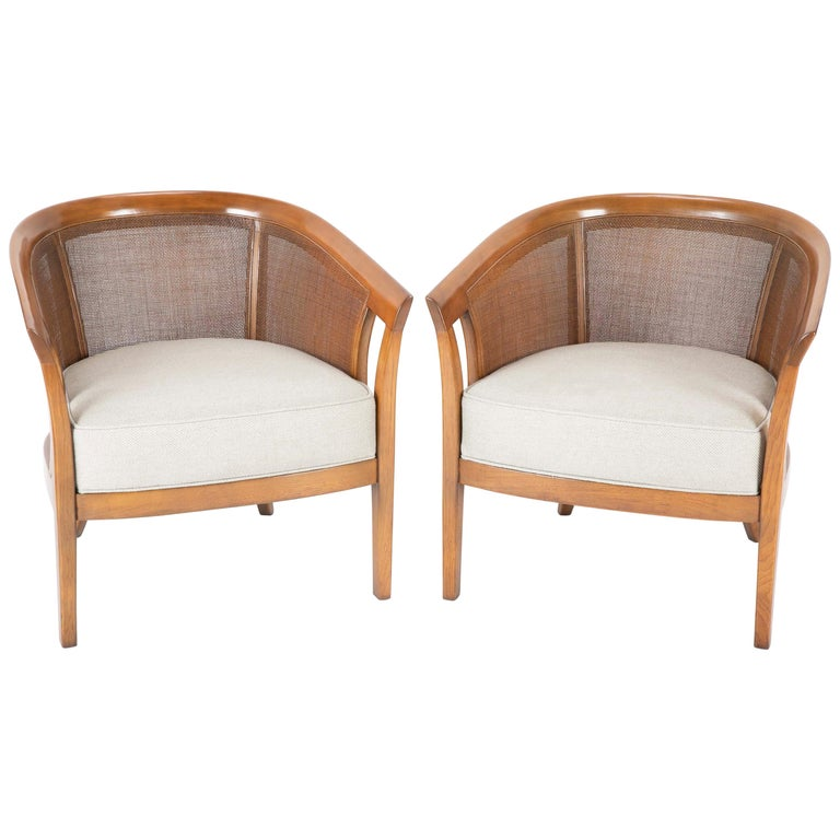 Pair of Caned Tub Back Armchairs Designed by Edward Wormley for Dunbar For Sale