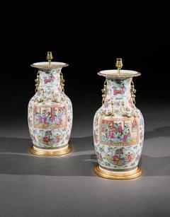 A Pair of Canton Porcelain Lamps