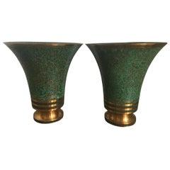 Pair of Carl Sorensen Bronze Flared Vessels