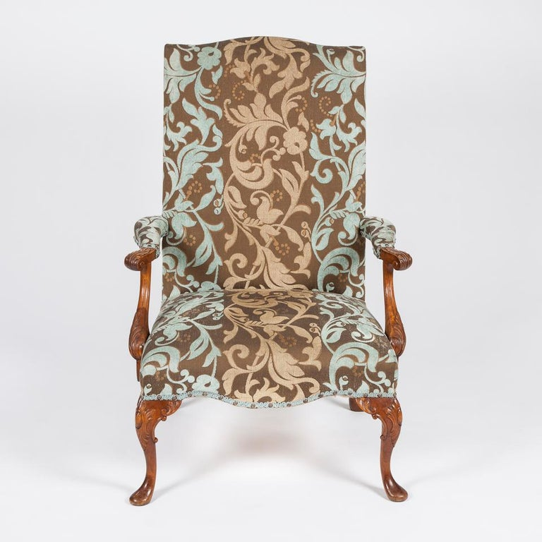 European Pair of Carved Beech High Back Open Armchairs with Cabriole Legs and Pad Feet For Sale