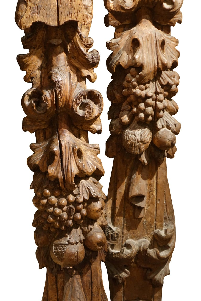 French Pair of Carved Fruitwood Elements, France, 17th Century For Sale