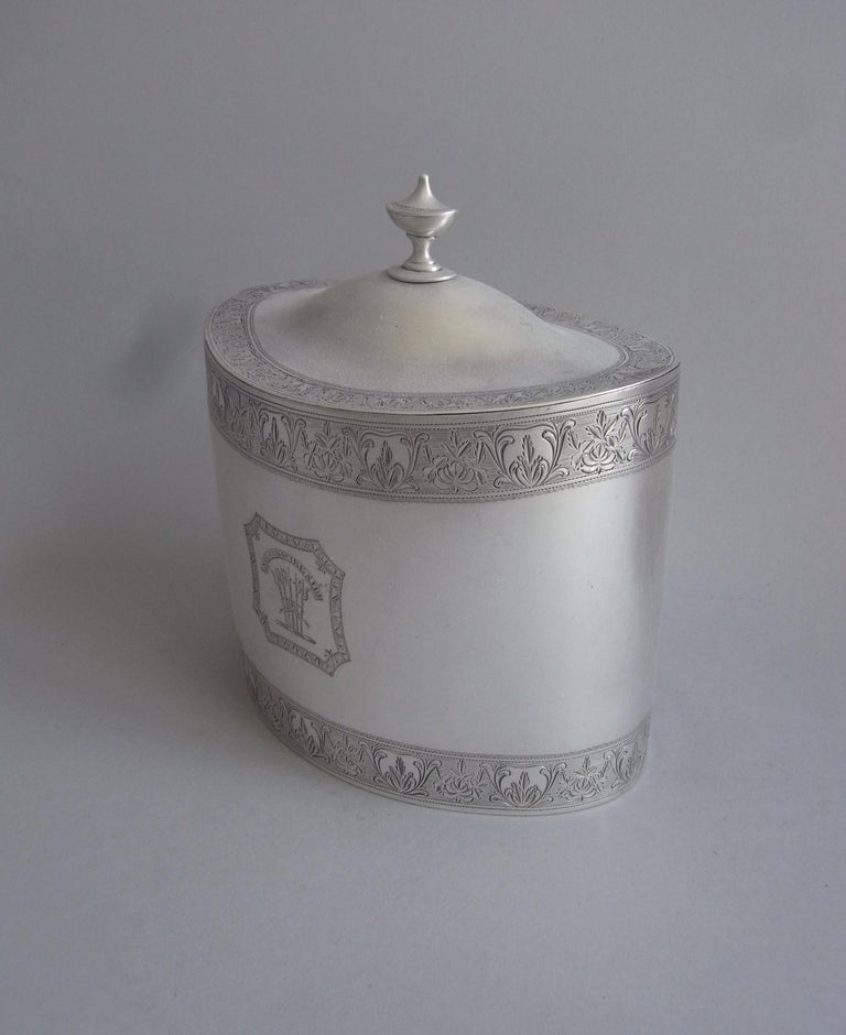 Late 18th Century Pair of Cased George III Tea Caddies Made in London in 1793 by William Frisbee For Sale